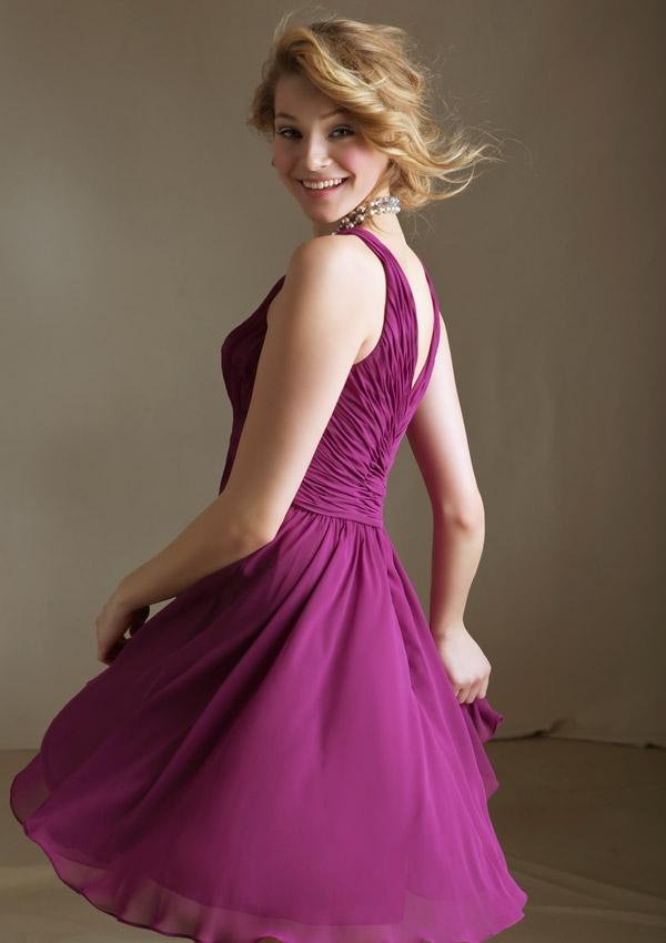 Mori Lee Style No. 31015 short chiffon bridesmaid dresses