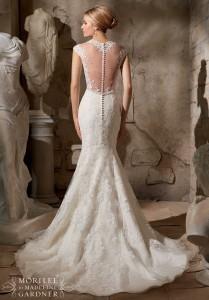 Elegant classy wedding dress with low back