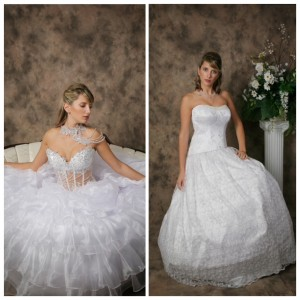 White wedding gown color in two custom wedding dresses