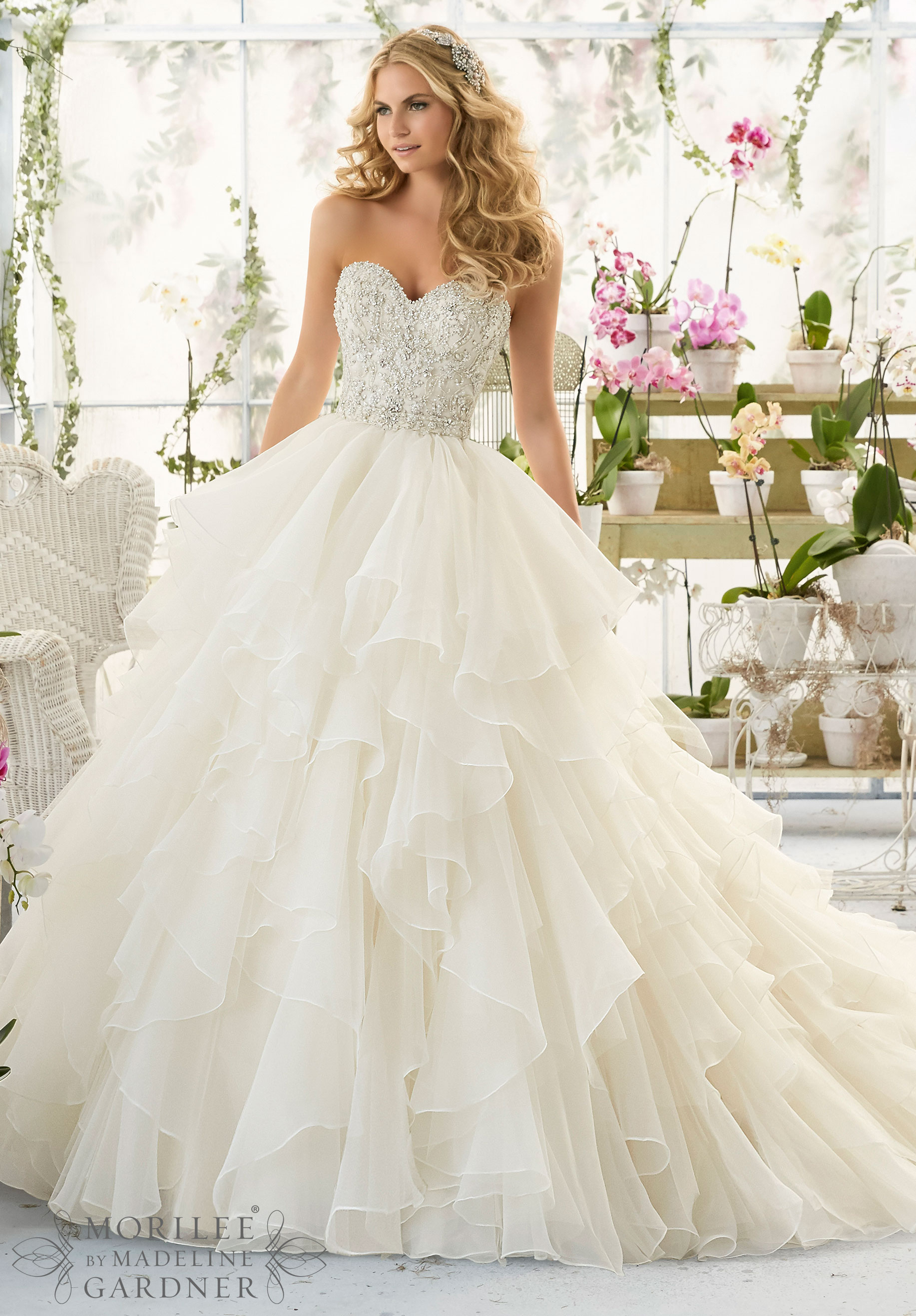 Wedding dress style 2815 by mori lee beaded bodice for Mori lee wedding dresses