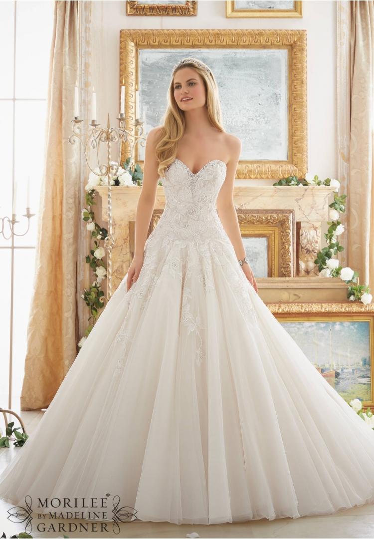 Wedding dress mori lee 2877 strapless ball gown dresses for Mori lee strapless wedding dress