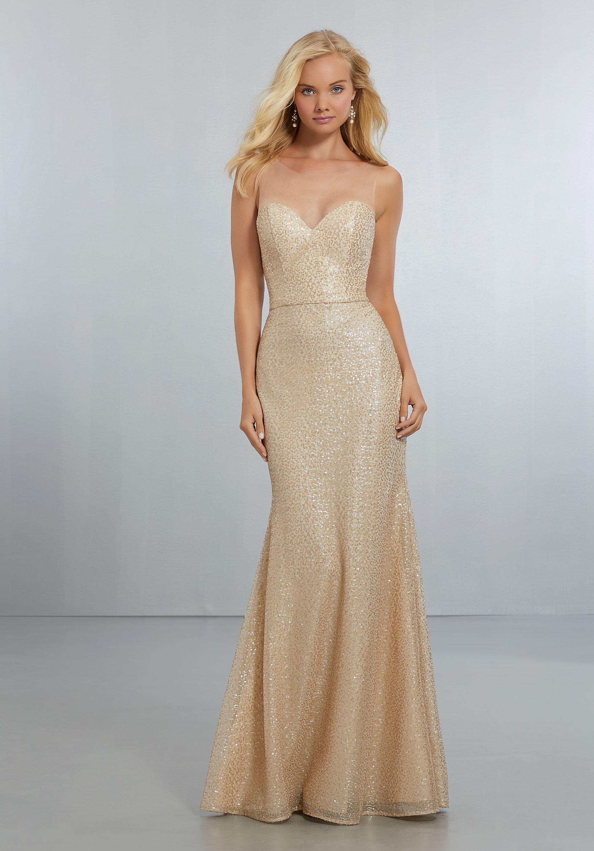 Mori Lee Style No. 21560 bridesmaid dress Fitted Caviar Mesh